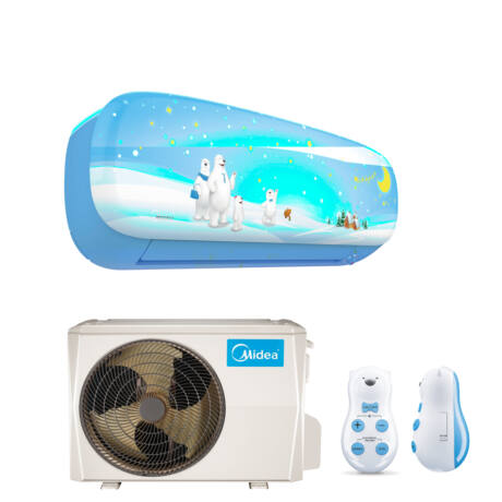 Midea Kids MSEABU-12HRFN1-QRD0G-BL Oldalfali monosplit klíma 3,6 kW, Fiú design, kék