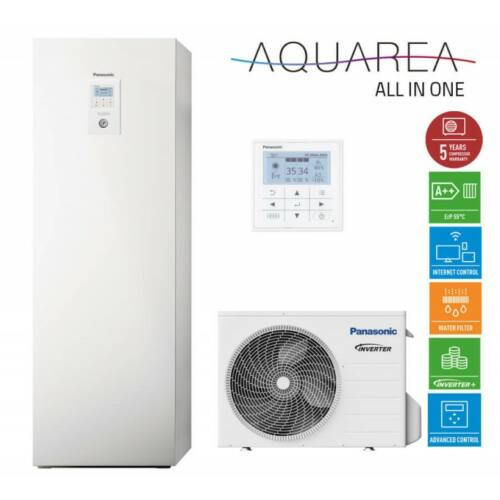 """Panasonic AQUAREA """"All in one"""" KIT-ADC05HE5 osztott kivitelű levegő-víz hőszivattyú 1 fázisú, 200 literes HMV tartály a beltéri egységben"""
