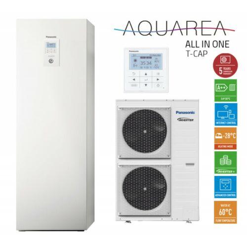 """Panasonic AQUAREA """"All in one"""" KIT-AXC12HE5 osztott kivitelű T-CAP levegő-víz hőszivattyú 1 fázisú, 200 literes HMV tartály a beltéri egységben"""