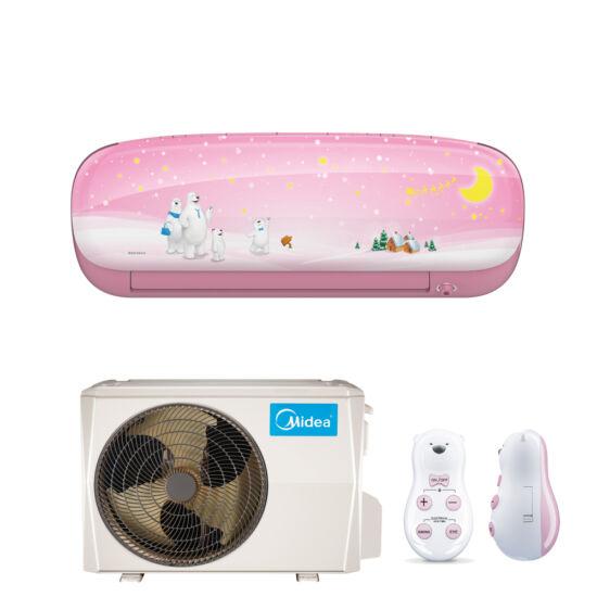 Midea Kids MSEABU-12HRFN1-QRD0G-PI Oldalfali monosplit klíma 3,6 kW, Lány design, rózsaszín